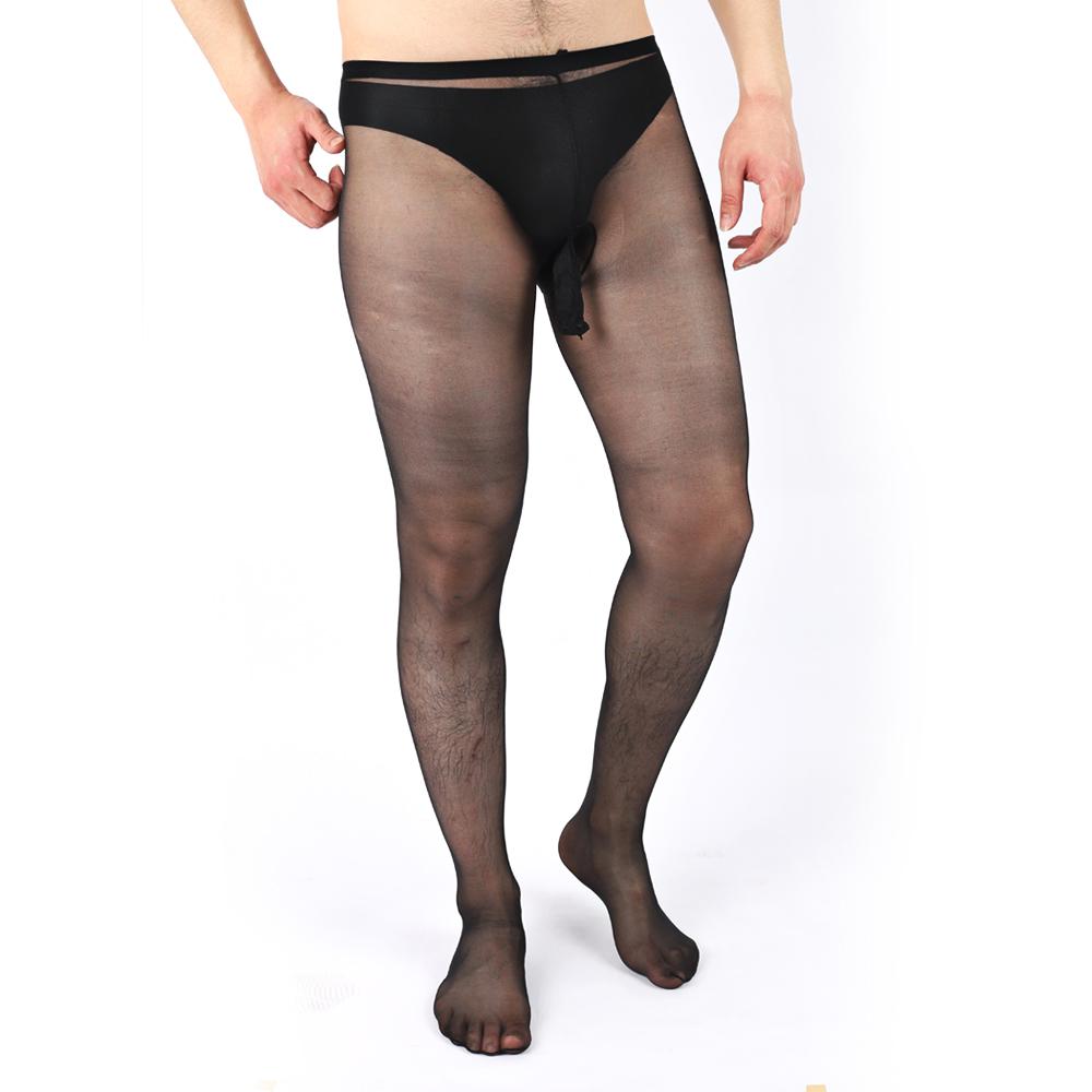 Elsayx Men/'s Glossy Tights Pantyhose Open Sheath