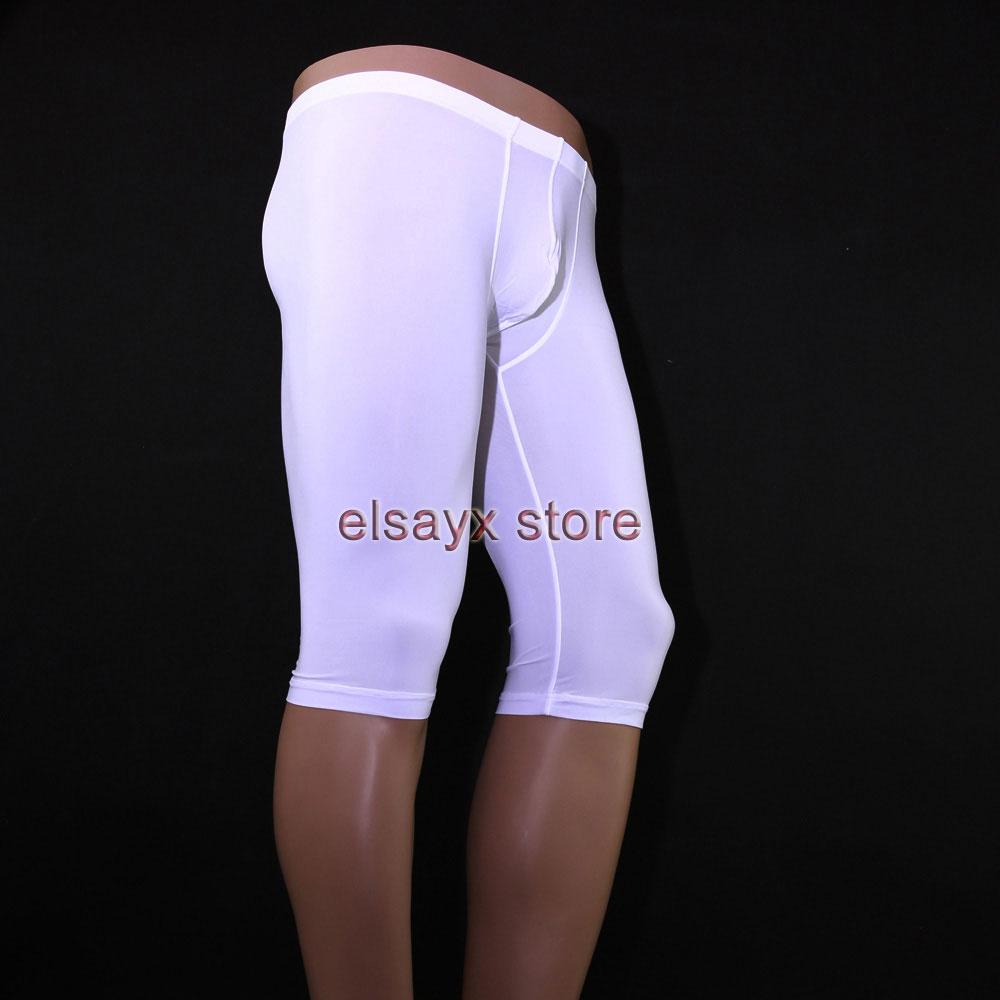 Mens Sheer See Through Underwear Boxer Half Pants ...